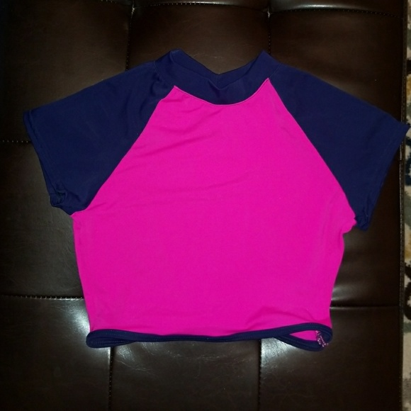 dELiA*s Other - Bright Pink & Deep Blue Crop Rash Guard